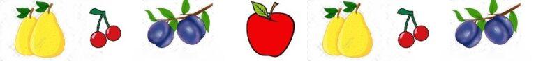 frise avec les 4 fruits - pomme poire cerise et prune